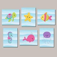 Baby Girl Nursery Wall Art Sea Life Sea Animals Under The Sea Nursery Decor Sea Animals Bathroom Decor Set of 6 Prints Or Canvas Nautical Art