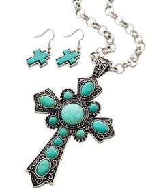 Western Cowgirl Turquoise Antique Silver Chunky Cross Navajo Long Necklace Set #Uniklookjewelry #layersbeaded