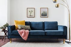 This high-end, gorgeous modern blue velvet sofa is a customer favorite and best seller. Add a pop of color and comfort to your living room with the Lexington mid-century modern blue velvet couch. Velvet and Gold never looked better. Blue Velvet Sofa Living Room, Blue Couches, Living Room Sofa, Living Room Furniture, Living Room Decor, Navy Couch, Dark Blue Couch, Furniture Stores, Cheap Furniture