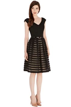 Black Striped Roxy Dress for an evening wedding