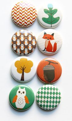 These are one inch flair buttons. There are 8 buttons in this set. Graphics thanks to Lilly Bimble on Etsy! Crafts To Do, Clay Crafts, Crafts For Kids, Sock Bunny, Ceramic Boxes, Badge Design, Scrapbook Embellishments, Autumn Inspiration, Craft Tutorials