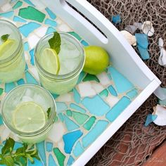 18 Beach and Coastal Home Decor Crafts.  Total love this tray.  Shouts summertime fun at the beach!