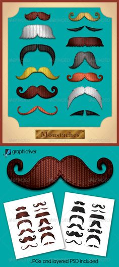 Celebrate Movember with this set of vector and bitmap knitted moustaches!    Each moustache is supplied in eight colours.    The pack contains a layered Illustrator eps, Layered psd and a jpg (on a white background).     To download please click the link.    http://graphicriver.net/item/knitted-moustaches/3206144?WT.ac=portfolio_1=portfolio_author=JRChild=JRChild