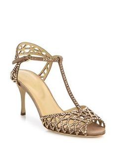 SERGIO ROSSI Tresor Crystal & Suede T-Strap Sandals. #sergiorossi #shoes #sandals