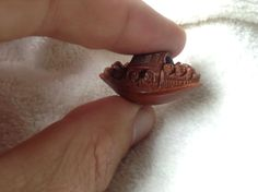 Chinese antique coquilla nut carving miniature Boat netsuke ojime Hediao china