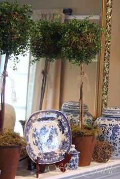 Make your own topiaries. Stonegable.blogspot.com Blue And White China, Love Blue, Blue China, White Gold, Delft, Vibeke Design, Art Deco, Blue Rooms, White Home Decor
