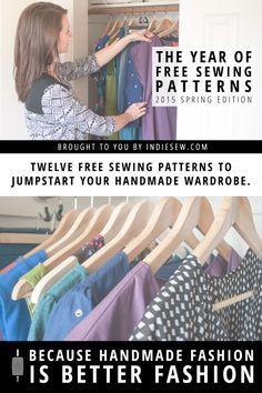 Year of Free Patterns Spring 2015   Indiesew.com patron de couture pdf Couture facile pour débutant gratuit robe pantalon jupe veste modèle actuel 2015