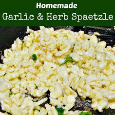 Homemade Garlic and Herb Spaetzle. A delicious, fun recipe and great as a side dish anytime! | Lovefoodies.com