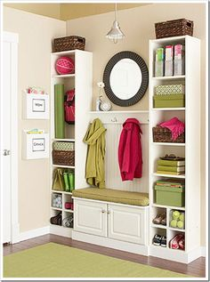 IKEA Billy Bookcase mudroom - I think I'd like more places to store shoes where the dog can't get to them but I love the shelving. And I like the little mail storage, I could do something like that for receipts and coupons.