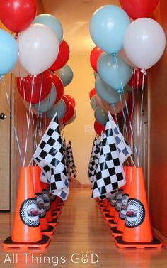 line the entrance/vestibule with cones and balloons