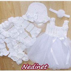 Crochet baby dress set sale.