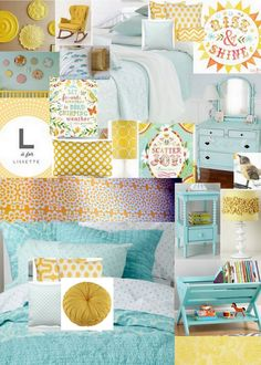 Lissy's Bedroom - Yellow and Aqua Kid's Room. Love the colors and the trough book-stand in right corner
