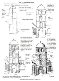 This free printable how to draw worksheet is helpf. This free printable how to draw worksheet is helpful to draw a tower in a courtyard or village scene. It can be nice as a line drawing as . Drawing Practice, Drawing Lessons, Drawing Techniques, Drawing Tips, Drawing Sketches, Art Lessons, Painting & Drawing, Manga Drawing, Drawing Ideas