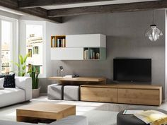 Feature Wall Living Room, Living Room Wall Units, Home Living Room, Living Room Designs, Living Room Decor, Apartment Interior, Apartment Design, Rack Tv, Muebles Living