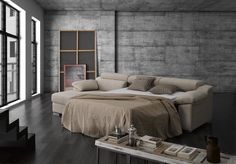 New Arco. Sofá cama con chaise longue (cama abierta) / sofa-bed with chaise longue (open bed)