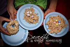 Secrets of a Super Mommy: Five Fun Easter Activities for your Family. Rice Krispie treat recipe but with Chinese crispy noodles. Add Cadbury eggs when Pau.