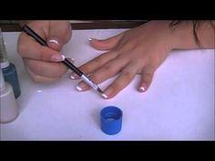 decoracion de uñas paso a paso 2015 / como hacer efecto mezclilla en uñas acrilicas - YouTube