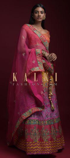 Yellow And Pink Shaded Lehenga With Printed Chevron And Floral Motifs And Jaal Pattern Online - Kalki Fashion Mehendi, Floral Motif, Hemline, Chevron, Sari, Sequins, Bridesmaid, Free Shipping, Printed