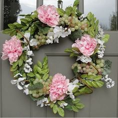 Pink Peony Wreath     Peonies    Hand Crafted Wreath   Outdoor Wreath  Summer Wreath   SALE  FREE SHIPPING on Etsy, $55.00
