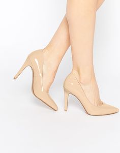 Head over Heels by Dune | Head over Heels By Dune Addyson Nude Patent Heeled Court Shoes at ASOS
