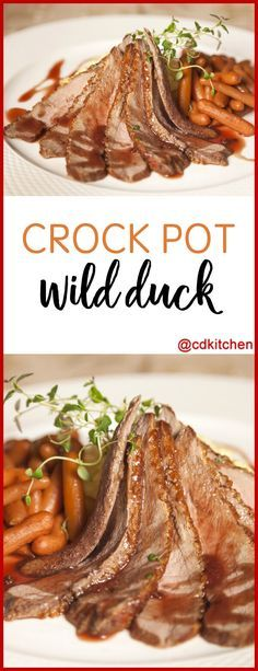 Slow Cooker Wild Duck - Wild ducks have less fat than farm-raised so they are the better choice in a recipe like this if you can get them. They also have more flavor. If you use a farm-raised duck then you'll want to cut off any excess fat before coo Crock Pot Duck Recipe, Slow Cooker Duck Recipes, Roasted Duck Recipes, Meat Recipes, Crockpot Recipes, Dinner Recipes, Cooking Recipes, Wild Game Recipes, Wild Duck Stew Recipe