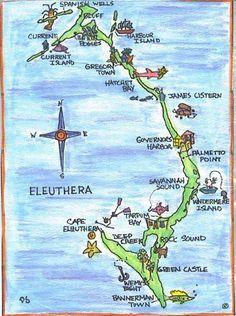 North #Eleuthera Map: Harbour Island, Spanish Wells, The ...