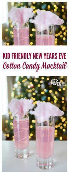 Kid Friendly New Years Eve Sparkling Cotton Candy Mocktails