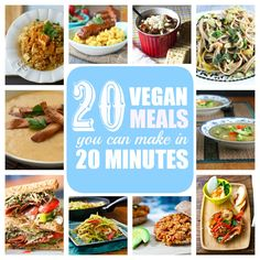 20 Vegan Meals You Can Make in 20 Minutes or Less- Some of these look good-others look blah. (and some, ironically, take more than 20 minutes) :P  3-4 I'd like to try...