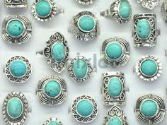 16.15 euro incl shipping 2013 New Arrival Vintage Fashion Elegant All-match Turquoise Tibet Silver P Rings A++ 30pcs/lot Free Shipping