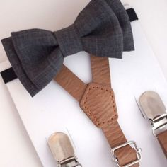 Sweet N Swag Suspenders and Bow Tie Set - Light Brown and Dark Gray