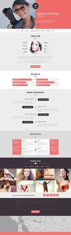 nice template from WordPress - Template 51090 - Photographer CV Responsive WordPress Theme resume web design резюме Design Web, Layout Design, Design Sites, Web Layout, Page Design, Blog Design, Webdesign Portfolio, Webdesign Layouts, Portfolio Web Design