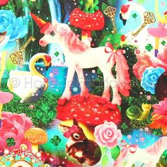 Cotton digital print fabric, digital fabric, wonderland fabric, kids fabric, unicorn fabric, animals fabric, Dutch design fabric, Wonderland