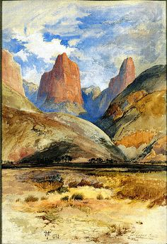 Thomas Moran, Colburn's Butte, South Utah, watercolor, gouache & graphite on paper, 1873, Metropolitian Museum of Art, New York, New York