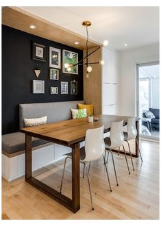 Bench Seating Kitchen Table, Kitchen Benches, Dining Nook, Dining Room Design, Dining Room Furniture, Kitchen Dining Rooms, Bench Seat Dining Room, Wall Dining Table, Dining Bench With Back
