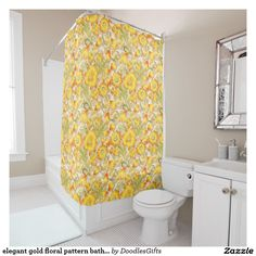 elegant gold floral pattern bath shower curtain