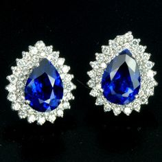 9.23ct MATCHING PEAR CUT BLUE SAPPHIRE 925 SILVER EARRINGS JEWELRY w/ WHITE HALO