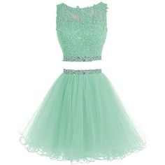 HTYS Beaded Two Pieces Prom Dresses Applique Short Homecoming Dresses... ($69) ❤ liked on Polyvore featuring dresses, beaded prom dresses, beaded dress, short dresses, prom dresses and short green dress #shortpromdresses