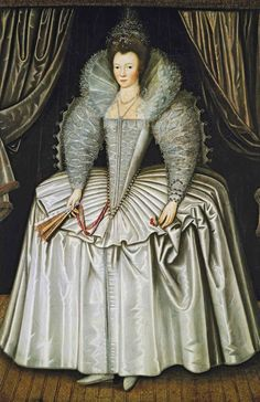 1595-1605 Lady, identified as Elizabeth Howard, daughter of Charles, 1st Earl of Nottingham by Catherine Carey, grand dau. of Mary Boleyn. Maid of honour to Elizabeth I Married 1st Sir Robert Southwell,1583. their daughter Elizabeth, also a maid of honour to Elizabeth, was a lover and eventually the 3rdwife of her cousin Sir Robert Dudley, illegitimate son of the Earl of Leicester and Douglass Sheffield. . Elizabeth Howard was secondly married to John Stewart, 1st Earl of Carrick