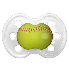 Yellow Softball With Pink Stitches Baby Pacifiers