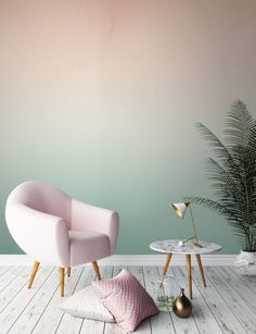 two-color-wall design-ombre-wall color wallpaper walls-creative-make - Do it yourself decoration Deco Pastel, Pastel Pink, Pastel Home, Blush Pink, Soft Pastels, Pink Soft, Pastel Colours, Soft Colors, Ombre Wallpapers