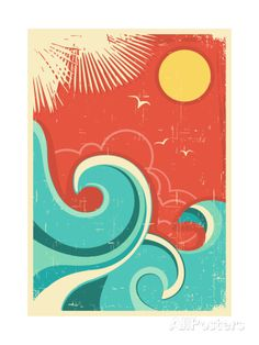 Illustration about Vintage tropical background with sea waves and sun. Illustration of seascape, retro, travel - 32824836 Surf Vintage, Vintage Poster, Vintage Hawaii, Poster Art, Kunst Poster, Art Posters, Framed Artwork, Framed Art Prints, Deco Surf