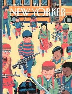 """Artwork by Art Spiegelman, who said this recently about the 20 year old cover on his Facebook page:  """"I did this New Yorker cover in 1993. Colombine happened in 1999, Newtown in 2012, nearly 20 years later. My wish for 2013: let Newtown be remembered as the turning point—I'm hoping that kids with guns can become ironic again."""" Here here."""