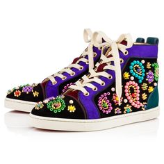 """Say it sweetly in """"Sneacandy"""". This signature Louboutin hightop silhouette in black, lagune and purple pop suede is adorned in this season's 'candied' embellishment of multicolored beads and signature gold mini spikes in a feminine paisley print."""