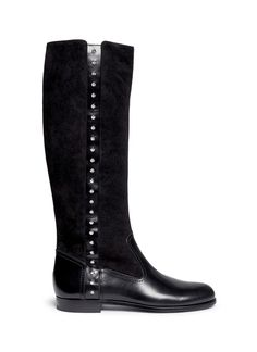 ALEXANDER MCQUEEN Suede shaft stud leather boots