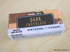 Belgian Dark Chocolate Bars (3-bar pack) #traderjoes Dark Chocolate Bar, Vegan Chocolate, Trader Joe's, Whole Food Recipes, Plant Based, Drink, Beverage, Drinking