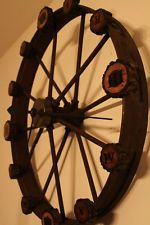 Vintage Wagon Wheel Iron Wall Clock Architectural re-purposed OOAK Industrial
