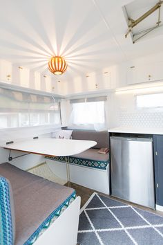 1971 Viscount renovation. Dining area of our caravan renovation complete!