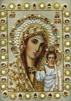 The Most Holy Theotokos /// Icons embroidered with beads