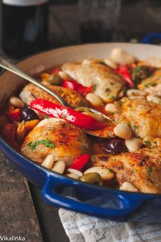 Main: Spanish Chicken in Bravas Sauce - used black eyed peas for the white beans