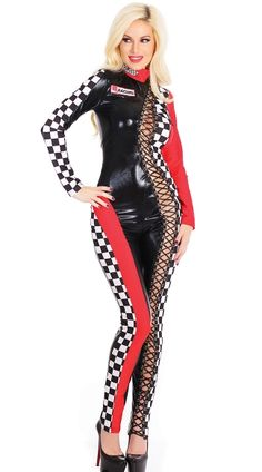 052a2a90144 Lace-Up Racer Jumpsuit Costume Race Car Costume